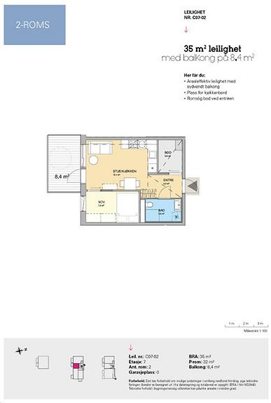 Plantegning som viser leilighet C 07-02