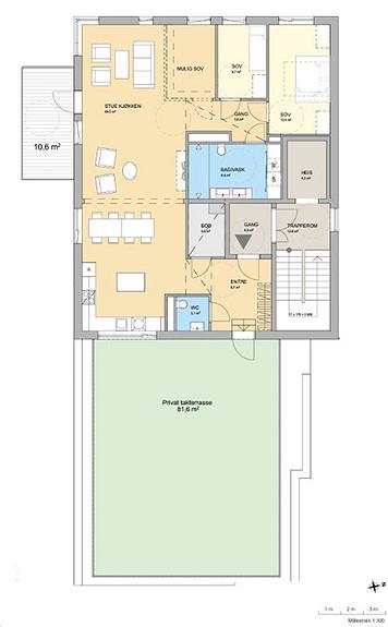 Plantegning som viser leilighet D 07-01