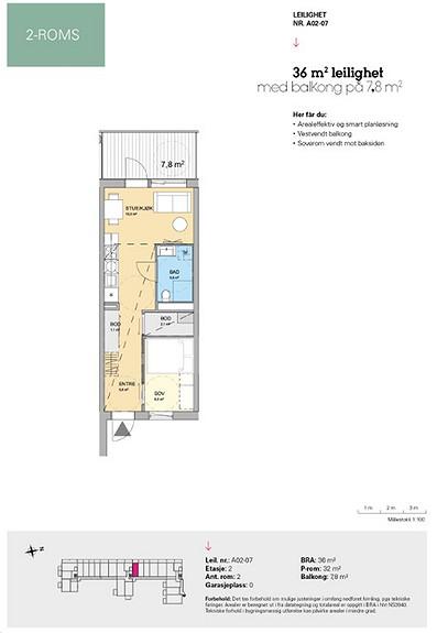 Plantegning som viser leilighet A 02-07