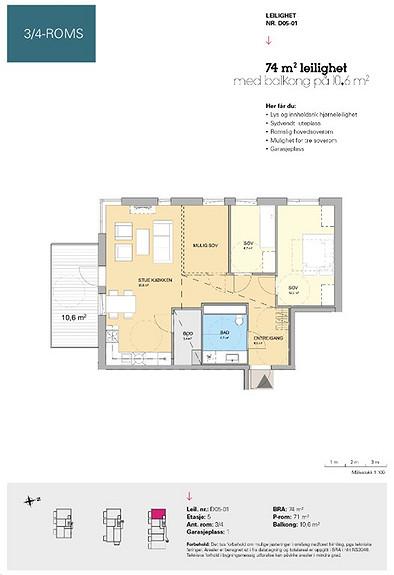Plantegning som viser leilighet D 05-01