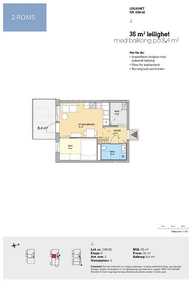 Plantegning som viser leilighet C 06-02