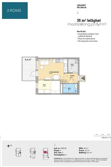Plantegning som viser leilighet D 05-02