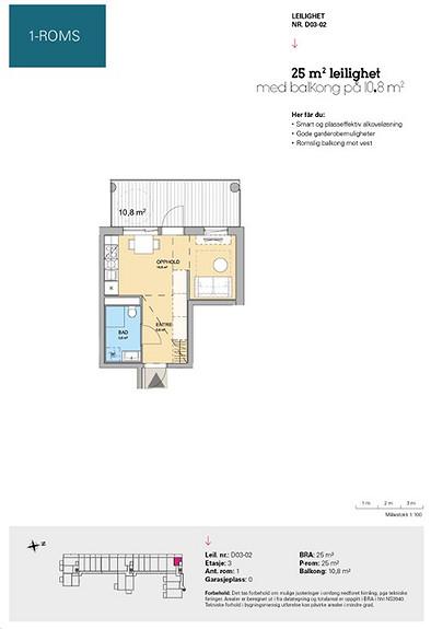 Plantegning som viser leilighet D 03-02
