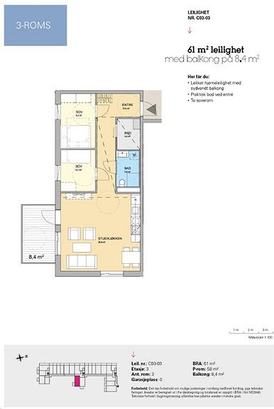 Plantegning som viser leilighet C 03-03