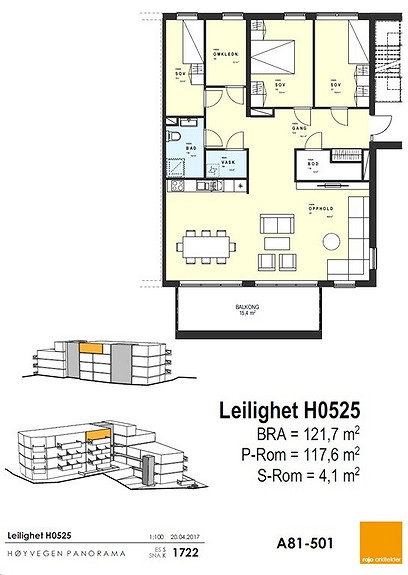 Plantegning som viser leilighet 25 - 5. ETG.