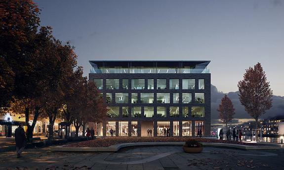 Fredrikstads mest sentrale nybygg direkte plassert på brygga og Blomstertorget