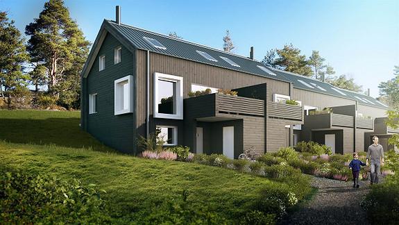 4 av 6 store rekkehus er solgt. Forventet innflytning senhøsten 2017
