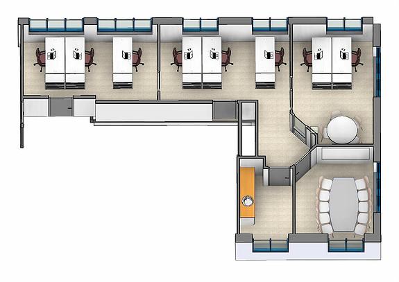 Forslag til innredning. Ledig lokale på 112 m2