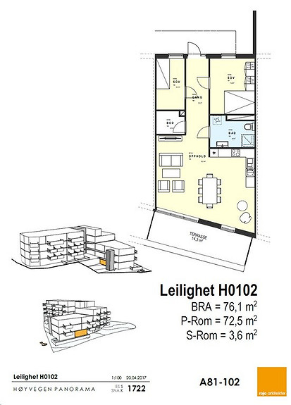 Plantegning som viser leilighet 02 - 1. ETG.