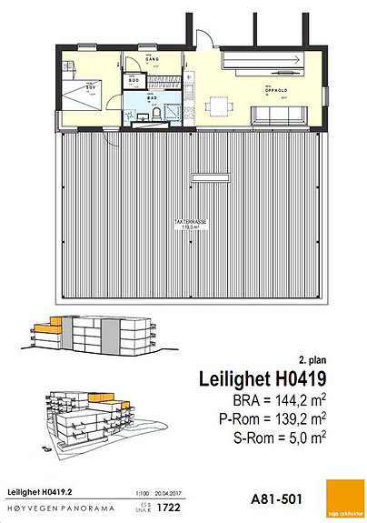 Plantegning som viser leilighet 19 - 4. + 5. ETG.