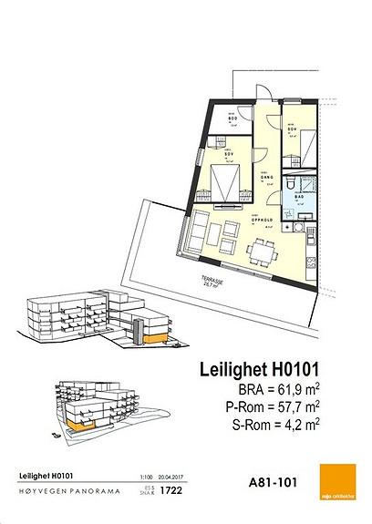 Plantegning som viser leilighet 01 - 1. ETG.