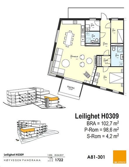 Plantegning som viser leilighet 09 - 3. ETG.