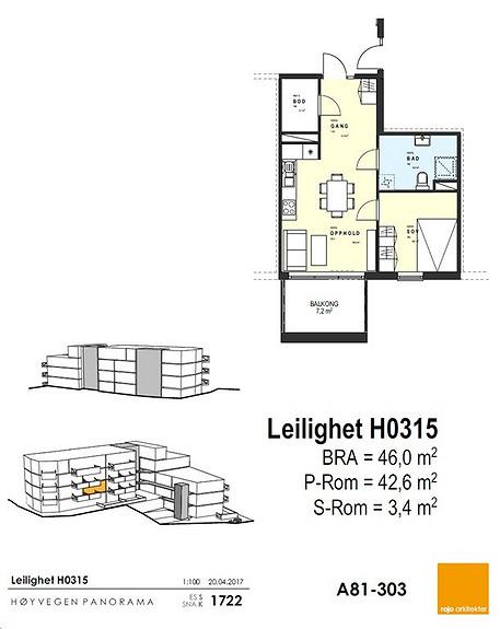 Plantegning som viser leilighet 15 - 3. ETG.