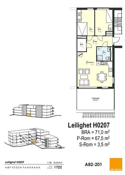 Plantegning som viser leilighet 07 - 2. ETG.