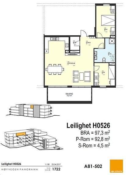 Plantegning som viser leilighet 26 - 5. ETG.