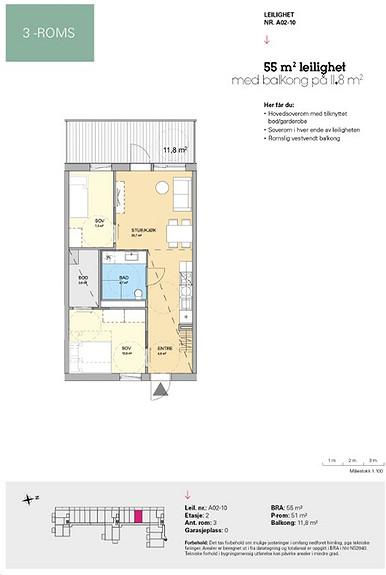 Plantegning som viser leilighet A 02-10