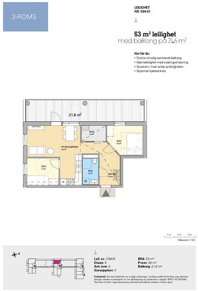 Plantegning som viser leilighet C 04-01
