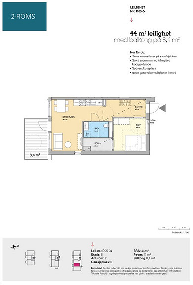 Plantegning som viser leilighet D 05-04