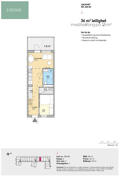 Plantegning som viser leilighet A 02-09