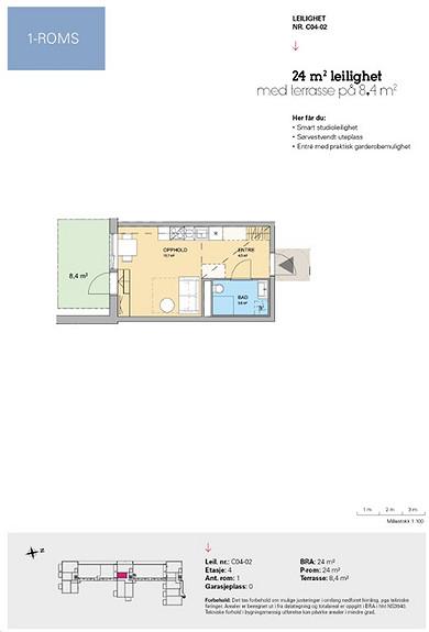 Plantegning som viser leilighet C 04-02