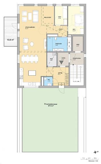 Plantegning som viser leilighet C 08-01