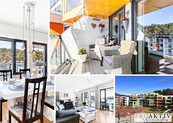Pen og moderne 4- roms leilighet med livsløpsstandard. Solrik uteplass, garasjeplass og heis.