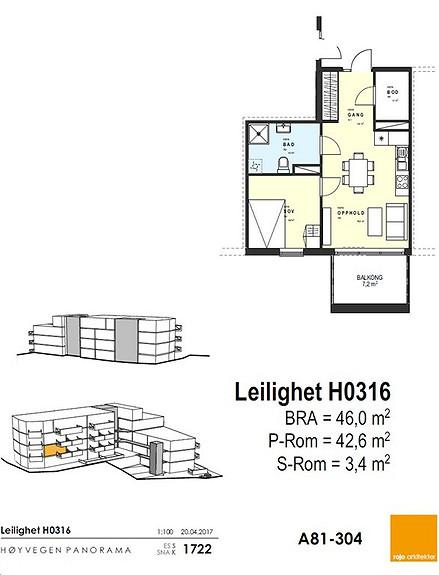 Plantegning som viser leilighet 16 - 3. ETG.