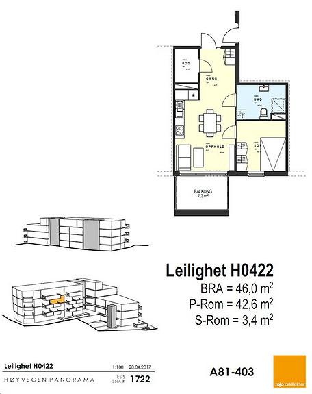 Plantegning som viser leilighet 22 - 4. ETG.
