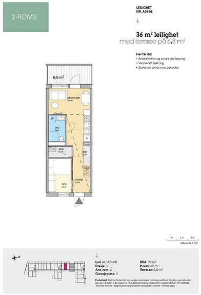 Plantegning som viser leilighet A 01-08