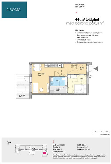Plantegning som viser leilighet D 04-04