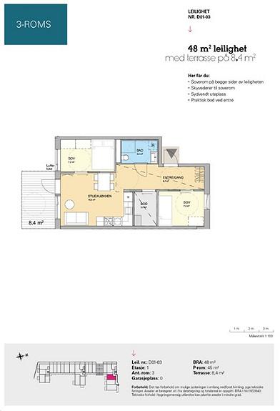 Plantegning som viser leilighet D 01-03
