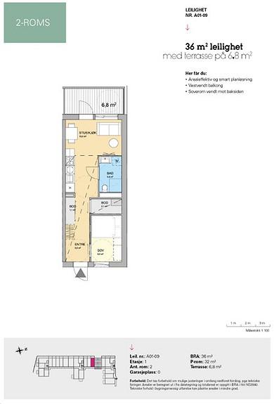 Plantegning som viser leilighet A 01-09