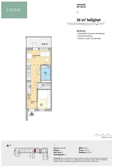 Plantegning som viser leilighet A 01-07