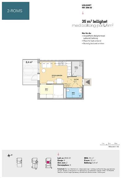 Plantegning som viser leilighet D 06-02