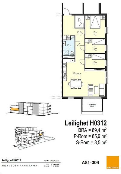 Plantegning som viser leilighet 12 - 3. ETG.