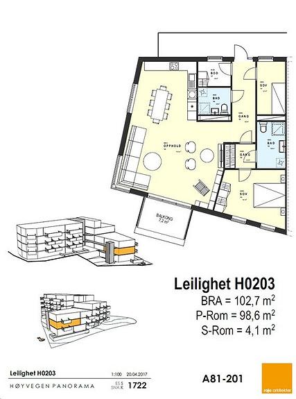 Plantegning som viser leilighet 03 - 2. ETG.