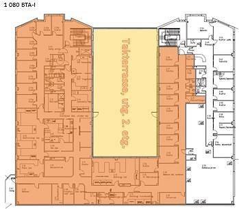 Plantegning 2.etg. med ledige lokaler markert