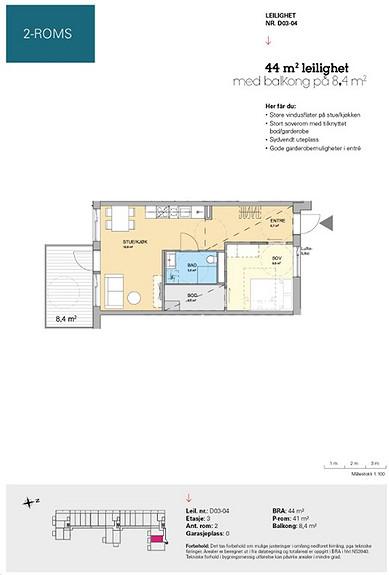 Plantegning som viser leilighet D 03-04
