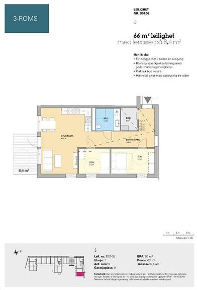 Plantegning som viser leilighet D 01-05