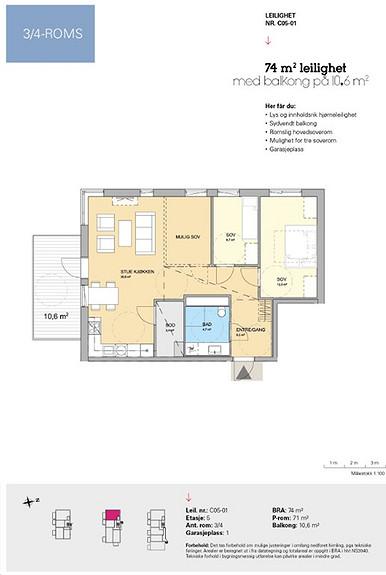 Plantegning som viser leilighet C 05-01