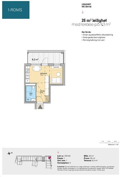Plantegning som viser leilighet D 01-02