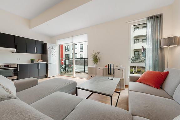 Damsgård - Lekker 2-roms leilighet med høy standard og svært sentral beliggenhet. Heis, balkong og felles takterrasse