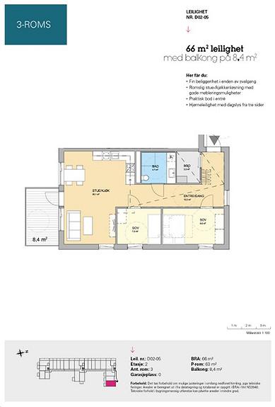 Plantegning som viser leilighet D 02-05