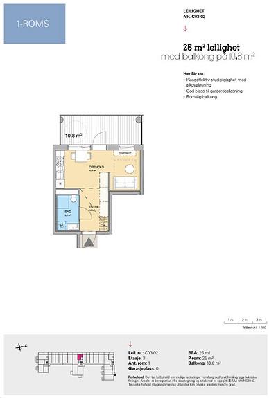 Plantegning som viser leilighet C 03-02