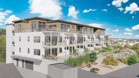 4 SOLGT ! 16 nye leiligheter på utsiktstomt i Lillesandsveien. Alle leilighetene har heis, parkering og bod i kjeller.