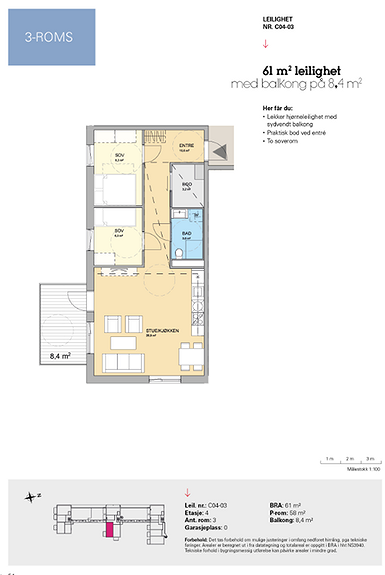 Plantegning som viser leilighet C 04-03