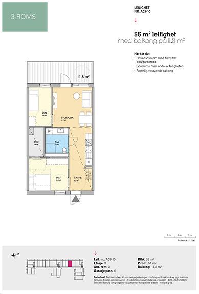 Plantegning som viser leilighet A 03-10