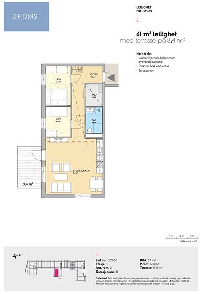Plantegning som viser leilighet C 01-03