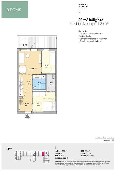 Plantegning som viser leilighet A 02-11