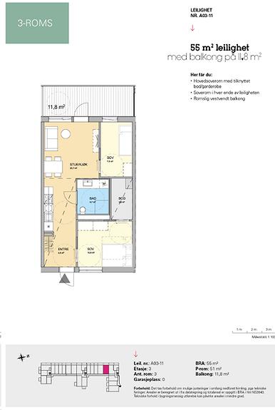 Plantegning som viser leilighet A 03-11